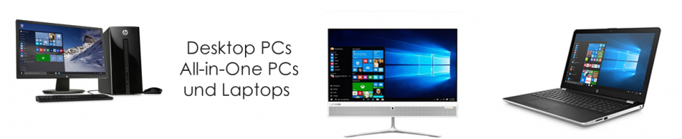 Desktop PCs, All-in-one PCs und Laptops