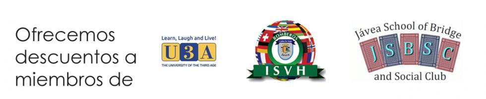 Ofrecemos descuentos a miembros de U3A, ISVH, JSBSC y otros