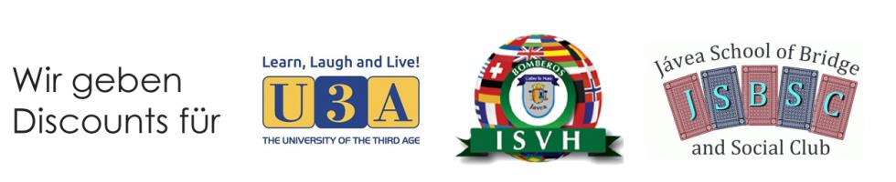 Wir geben Discounts an Mitglieder von U3A, ISVH und JSBSC.